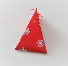 Weihnachtsbox Dreieck rot-silber