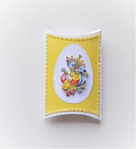Pillowbox mit Küken weiß-gelb