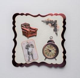 Männerkarte mit Sessel und Wecker