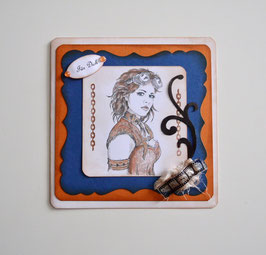 Steampunkkarte blau-orange
