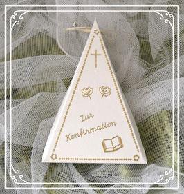 Dreieckschachtel zur Konfirmation in creme-gold mit Kreuz, 2 Blumen und Buch