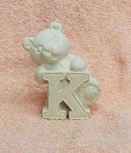 """Buchstabenbär """"K"""" weiß"""