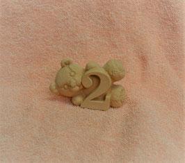 """Zahlenbär """"2"""" rosa"""