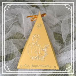 Dreieckschachtel zur Jugendweihe in gold-goldweiß mit Junge