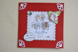 """Stempelmotiv """"Mädchen mit Blumentopf"""" in rot-weiß"""