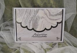 Trauerkarte schwarz-marmor, Aufrichtige Anteilnahme