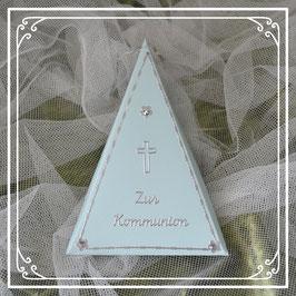Dreieckschachtel zur Kommunion in grün-silber