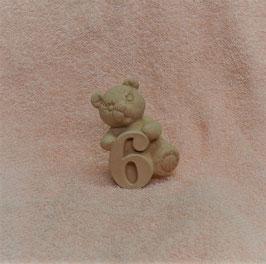 """Zahlenbär """"6"""" rosa"""