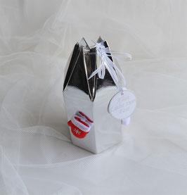 Sechseckbeutel silber mit Weihnachtsmotiven