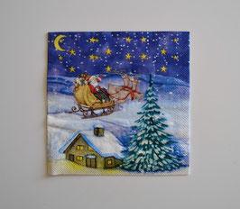 Nikolaus mit Rentierschlitten, Haus und Tanne