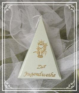 Dreieckschachtel zur Jugendweihe in hellgrün-gold