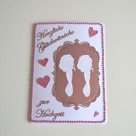 Hochzeitskarte für Frauen weiß-rosa