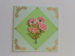 Glückwunschkarte grün-gold mit 3-D Motiv Nelken