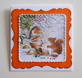 Geschenkkuvert Eichhörnchen mit Vogel weiß-orange