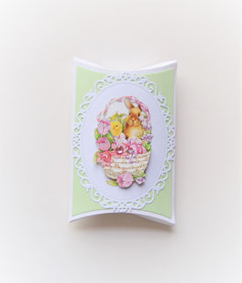 Pillowbox mit Küken weiß-hellgrün