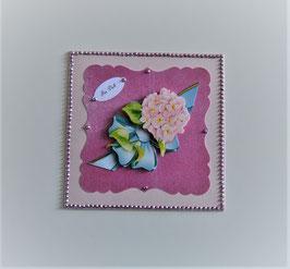 Rosa Karte mit 3-D Motiv Hortensie