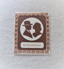 """Hochzeitskarte """"Herzliche Glückwünsche"""" in braun-beige"""