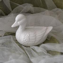 Ente aus Keramik weiß
