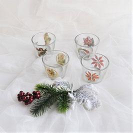 4 Teelichtgläser mit je 4 transparent Stickern