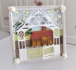 """Geschenkbox """"Kirche mit Baum"""" braun-weiß"""