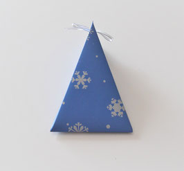 Weihnachtsbox Dreieck blau-silber