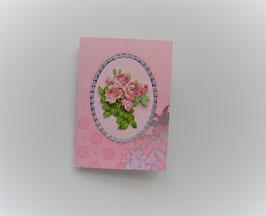 Glückwunschkarte rosa mit Rosenmotiv