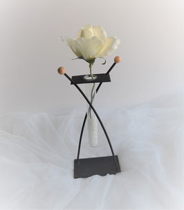 Vase Glas mit Metall