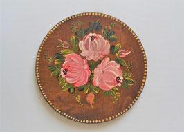 Wandteller aus Holz mit Bauernmalerei