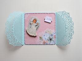 """Babykarte rosa-hellblau """"Herzlichen Glückwunsch"""""""
