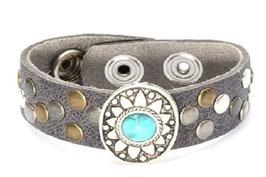 Leren armband - turquoise - grijs