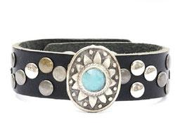 Leren armband - turquoise - zwart