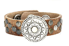 Leren armband - mandala - bruin