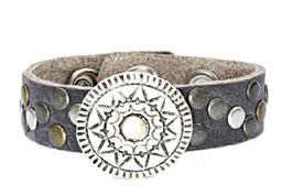Leren armband - mandala - grijs