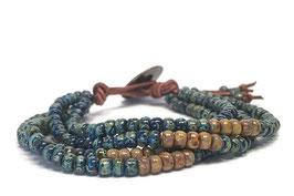 Blauw-/bruine miyuki armband - bruin leer