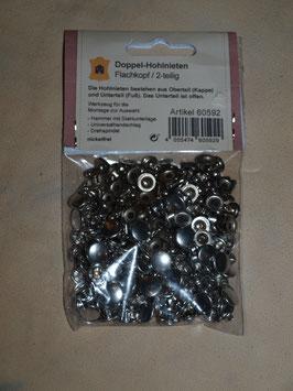 Doppelhohlnieten, Unterteil offen, 2-teilig, Material Eisen