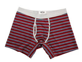 VATTER Boxer *Classy Claus Red/Blue/Grey Stripes* mit seitlichem Eingriff