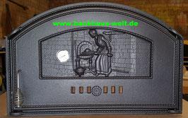 Große Gußtür B700xH460mm  Bäckersfrau Relief m. Thermometer