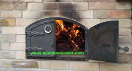 Backofentür aus Guss, Modell Ungarn mit Thermometer B 525 x H 355 mm