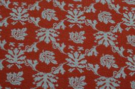 Hapilu Wollstrickstoff Blumen Orange/Weiß