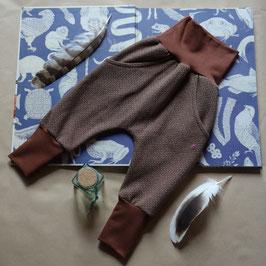 Hapilu Hose mit Seitentaschen 60-80, Schokobraun mit braun/weißem Tweedmuster