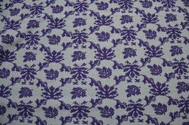 Hapilu Wollstrickstoff Blumen Mitternachtsblau/Hellgrau