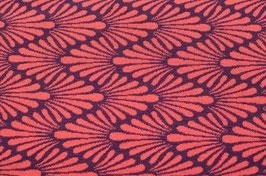 Hapilu Wollstrickstoff Zickzack Federn Violett/Orange