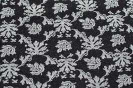 Hapilu Wollstrickstoff Blumen Grau/Schwarz