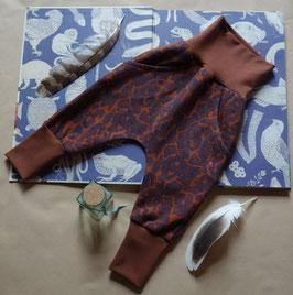 Hapilu Hose mit Seitentaschen 80-100,  Schokobraun mit tintenblauem Muster