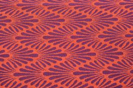 Hapilu Wollstrickstoff Zickzack Federn Orange/Violett