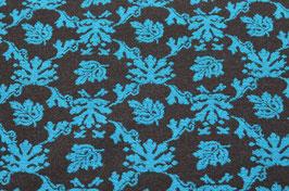 Hapilu Wollstrickstoff Blumen Türkis/Schwarz