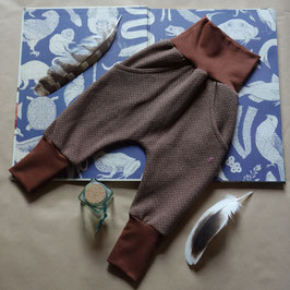 Hapilu Hose mit Seitentaschen 80-100,  Schokobraun mit braun/creme Tweedmuster