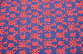 Hapilu Wollstrickstoff Blumen Tangorot/Königsblau