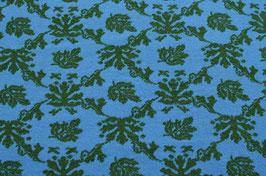 Hapilu Wollstrickstoff Blumen Grün/Türkis