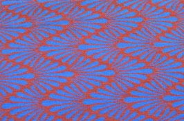 Hapilu Wollstrickstoff Zickzack Federn Orange/Blitzblau